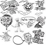Vector hand drawn of Halloween objects Stock Images