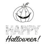 Vector hand drawn halloween postcard with a pumpkin Stock Photography