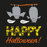 Vector hand drawn halloween postcard with two bats Royalty Free Stock Photos