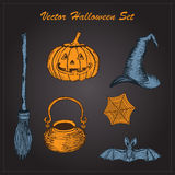 Vector hand drawn halloween set on dark background Royalty Free Stock Image
