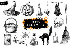Vector hand drawn Halloween set. Vintage illustration. Stock Photos
