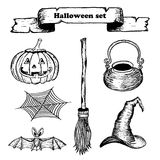 Vector hand drawn halloween set on white background Royalty Free Stock Image