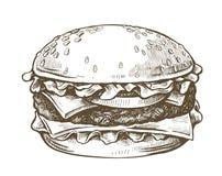 Vector hand drawn hamburger. Vector black hand drawn hamburger on white background Royalty Free Stock Photos