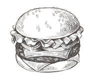 Vector hand drawn hamburger. Vector black hand drawn hamburger on white background Royalty Free Stock Photography
