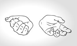Vector hand drawn hands with open fist and close fist Stock Photos