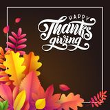 Vector Hand drawn Happy Thanksgiving, fallen leaves square frame on black background. Festive style autumn calligraphy. stock illustration