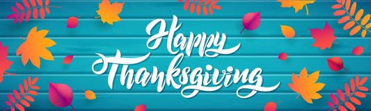 Vector Hand drawn Happy Thanksgiving typography poster with fallen leaves on wood turquoise background royalty free illustration