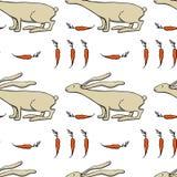 Vector hand drawn hare pattern stock illustration