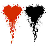 Vector hand drawn heart. Artistic creative black and red graphic illustration with inc splash, blots and smudge  on the white background Stock Photography