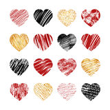 Vector hand drawn heart icons for valentines and Royalty Free Stock Images
