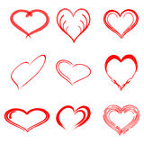 Vector hand drawn heart set with different tools like brushes, chalk, ink. Stock Photos