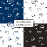 Vector hand drawn hipster seamless patterns set Stock Images