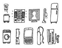 Vector hand-drawn home appliances Stock Images