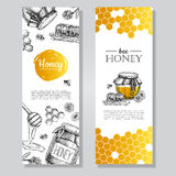 Vector hand drawn honey banners. Detailed honey engraved  illust Stock Image