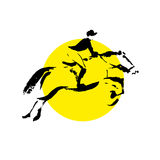 Vector hand drawn horse riding sketch Royalty Free Stock Photo