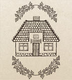 Vector hand-drawn house with chimney Stock Image