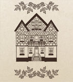Vector hand-drawn house with stairs Royalty Free Stock Image