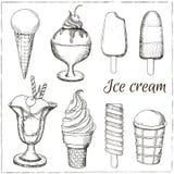 Vector hand drawn ice cream. Royalty Free Stock Photos