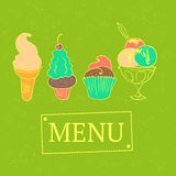 Vector hand drawn ice cream pattern. Royalty Free Stock Image