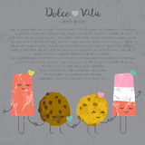 Vector hand drawn ice cream set cute kawaii. Frendship story for postcard, poster, label and others Royalty Free Stock Photos