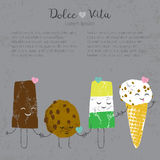 Vector hand drawn ice cream set cute kawaii. Frendship story for postcard, poster, label and others Stock Images