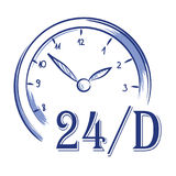 Vector hand drawn icon clock. 24 h Royalty Free Stock Image