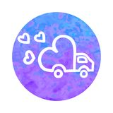 Vector hand drawn icon of delivery truck with love. On round watercolor background Stock Photography