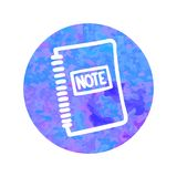 Vector hand drawn icon of note pad. On watercolor background Royalty Free Stock Image