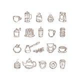 Vector hand drawn icon set coffee and tea stock illustration