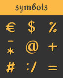 Vector hand drawn Icons. mathematical business. Vector hand drawn Icons. Mathematical financial business symbols. Dollar euro signs Royalty Free Stock Images