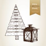Vector hand drawn illustartion of plywood fir tree and lantern. Vintage engraved style. Christmas decoration. Royalty Free Stock Images