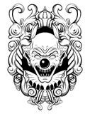 Vector hand drawn  illustration of angry clown. In baroque frame. Tattoo artwork in realistic line style. Portrait of ugly clown.  Template for card, poster Stock Photo