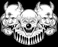 Vector hand drawn  illustration of angry clown and daemon. Tattoo artwork in realistic line style. Portrait of ugly clown.  Character design. Template for card Royalty Free Stock Photography