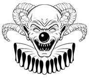 Vector hand drawn  illustration of angry clown with horns. Tattoo artwork in realistic line style. Portrait of ugly clown.  Template for card, poster, banner Stock Photos