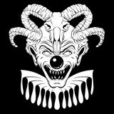 Vector hand drawn  illustration of angry clown with ram skull. Tattoo artwork in realistic line style. Portrait of ugly clown.  Template for card, poster Royalty Free Stock Image