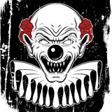 Vector hand drawn  illustration of angry clown. Tattoo artwork in realistic line style. Portrait of ugly clown.  Template for card, poster, banner, print for t Stock Photo
