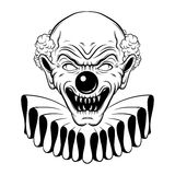 Vector hand drawn  illustration of angry clown. Tattoo artwork in realistic line style. Portrait of ugly clown.  Template for card, poster, banner, print for t Royalty Free Stock Photography