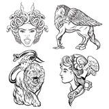 Vector hand drawn illustration of antique mythological beasts. Template for card, poster, banner, print for t-shirt,coloring books Royalty Free Stock Image