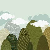 Vector hand drawn illustration of beautiful landscape, textured Stock Images