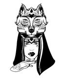 Vector hand drawn illustration of beautiful woman with hand and mask of wolf. Stock Photo