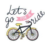 Vector hand drawn illustration with bicycle and stylish phrase - just ride. Royalty Free Stock Photo