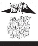 Vector hand drawn illustration with black and white imperfect graffiti font, isolated on white. 3d letters sequence from A to Z wi. Th ink hatch and dots Stock Illustration