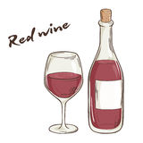 Vector hand drawn illustration of bottle and glass of red wine Royalty Free Stock Image
