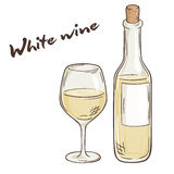 Vector hand drawn illustration of bottle and glass of white wine Royalty Free Stock Photo