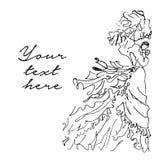 Vector hand drawn illustration of bride on white background. vector illustration