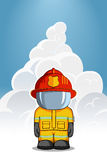 Vector hand drawn illustration.. Character firefighter in protective suit stands. Smoke on a blue background Royalty Free Stock Photos