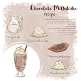 Vector hand drawn illustration of chocolate milkshake recipe with list of ingredients Stock Photo