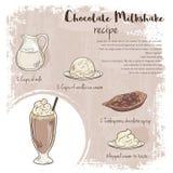 Vector hand drawn illustration of chocolate milkshake recipe with list of ingredients Stock Photo