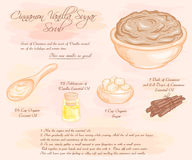 Vector hand drawn illustration of  cinnamon vanilla sugar scrub recipe Stock Photo