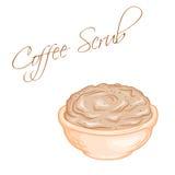 Vector hand drawn illustration of  coffee body scrub Stock Photo